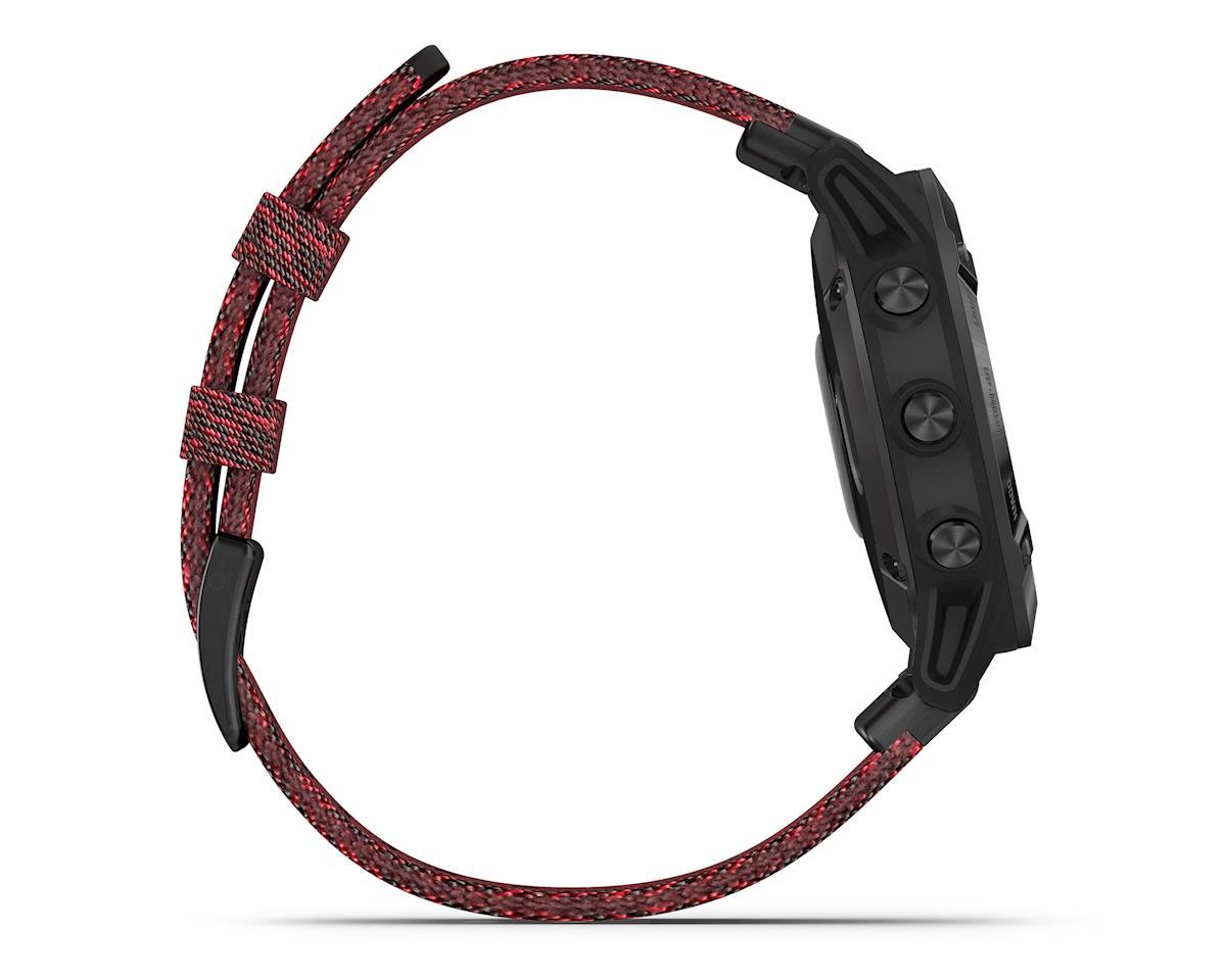 Garmin Fenix 6 Sapphire (Black DLC w/ Red Nylon Fenix 6 Quick Fit Wristband)