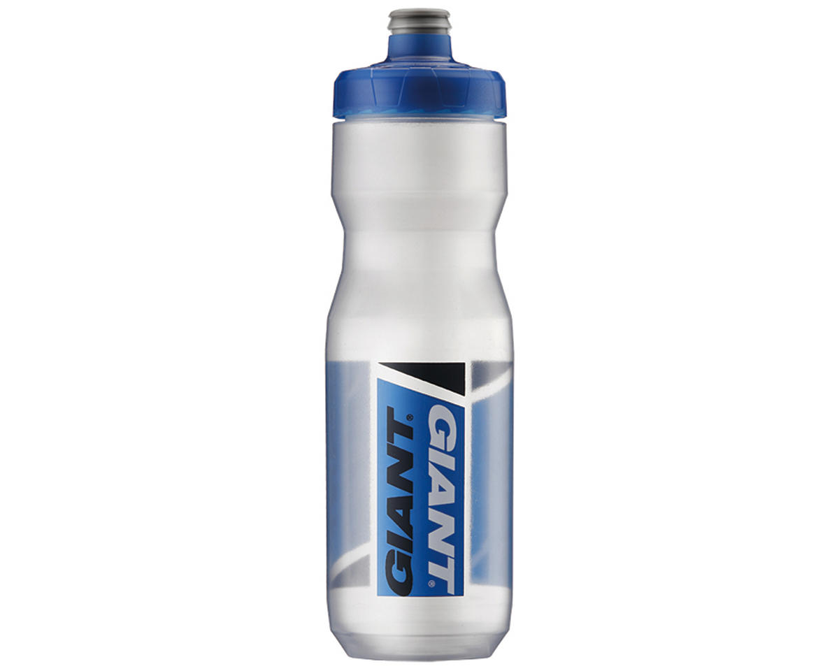 Giant PourFast AutoSpring Bike Bottle (25oz) (Clear/Blue Logo)