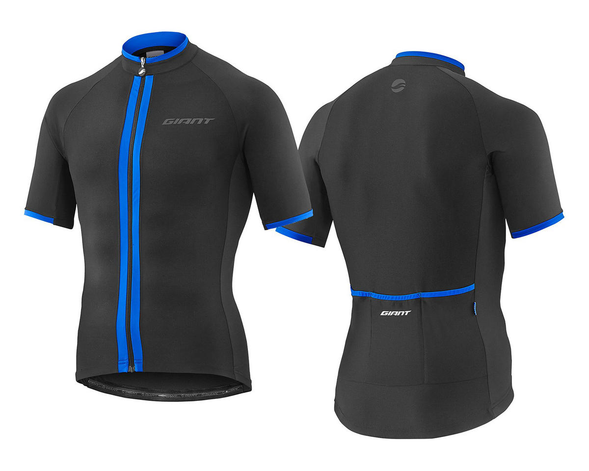 Giant Signature Short Sleeve Jersey (Black/Blue) (L)