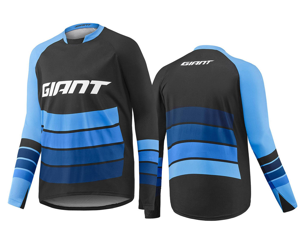 Giant Transfer Long Sleeve Cycling Jersey (Black/Blue) (L)