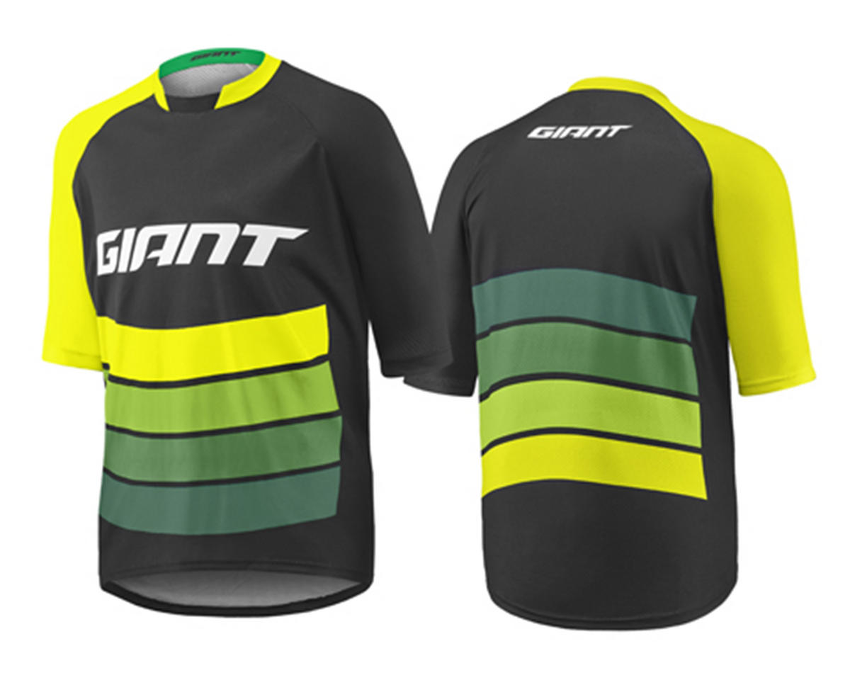 Giant Transfer Short Sleeve Cycling Jersey (Black/Yellow/Green) (L)