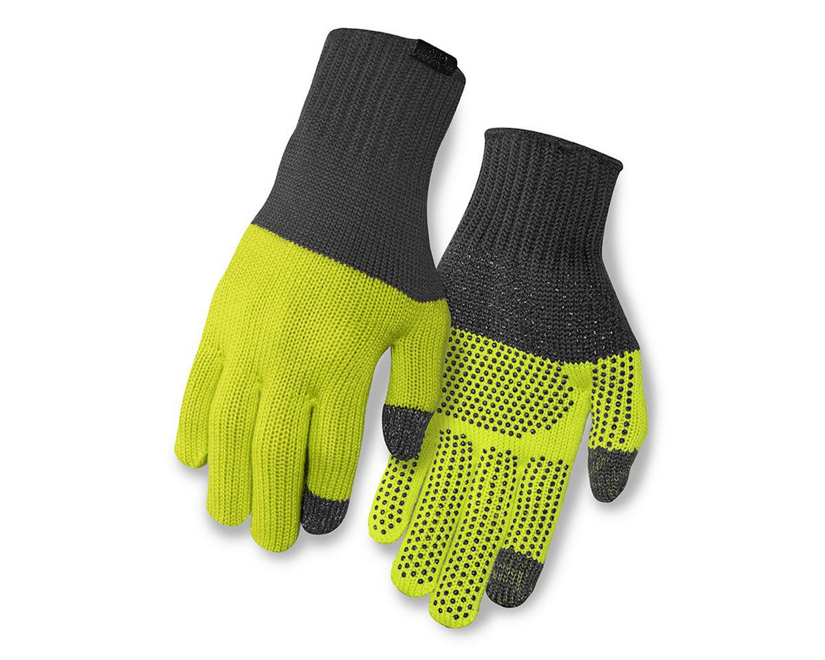 Giro Merino Wool Bike Gloves (Gray/Wild Lime) (L/XL)