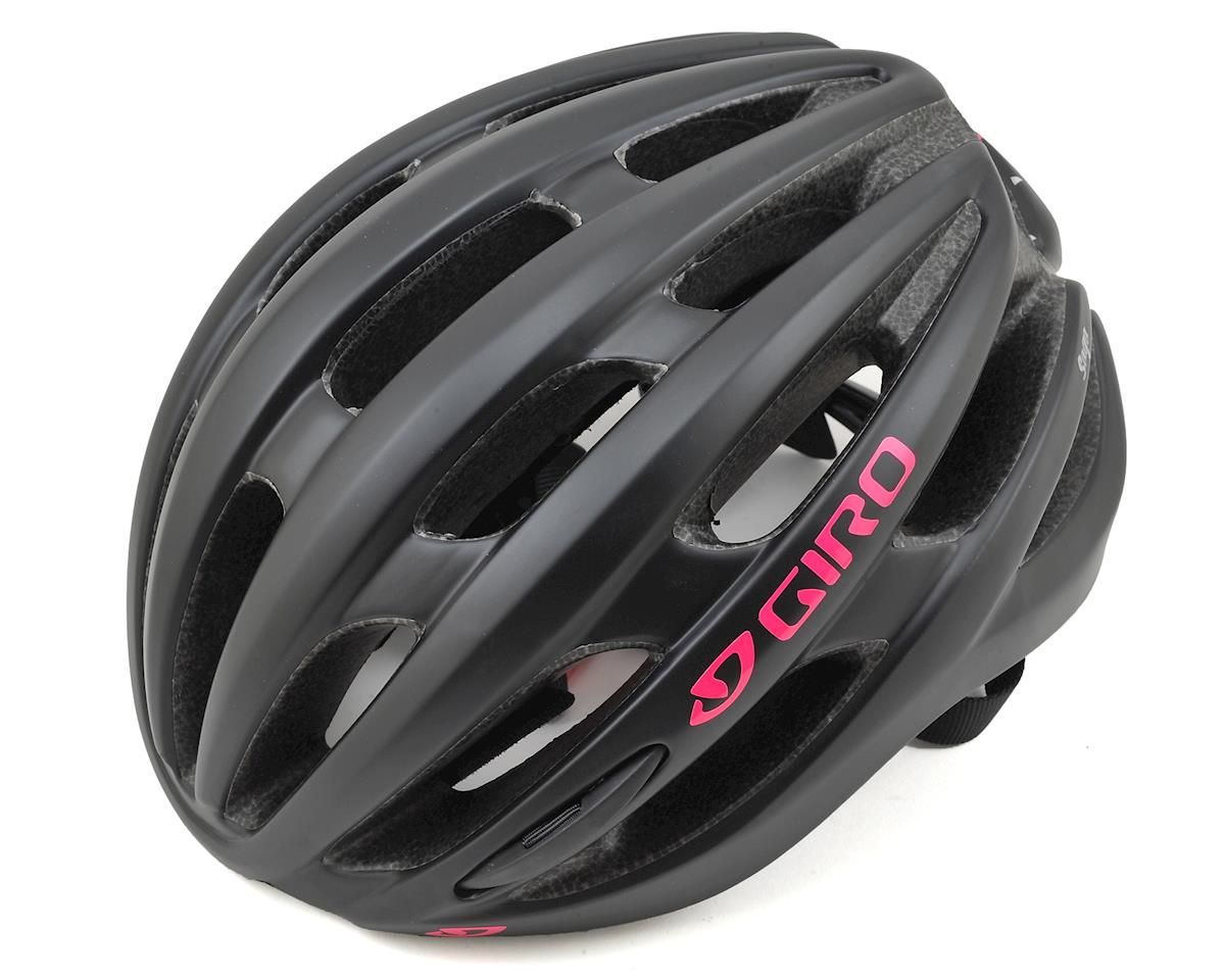 Giro Saga Womens Road Helmet (Matte Black/Bright Pink) (S)
