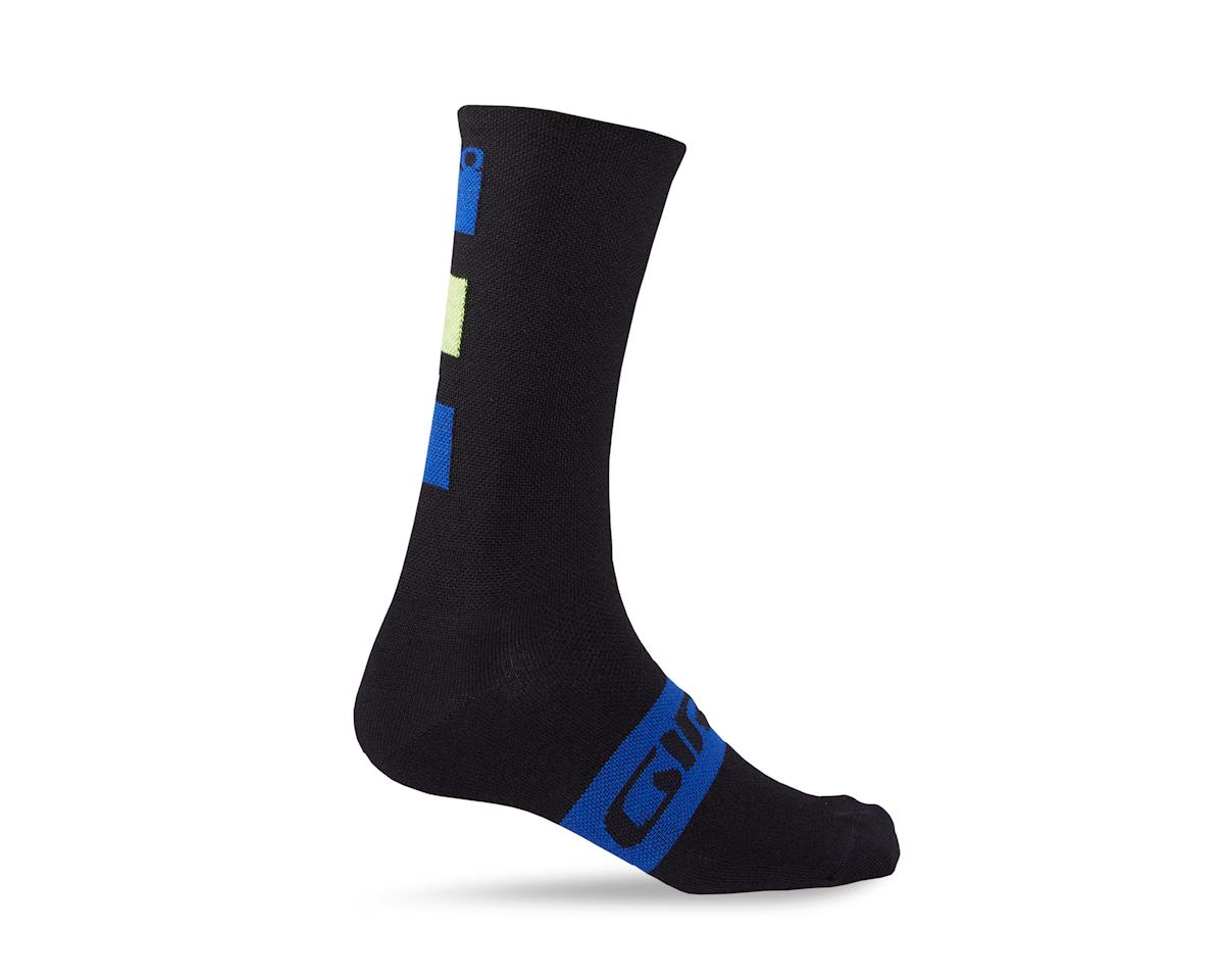 Giro Merino Seasonal Wool Socks (Black/Blue/Lime) (L)