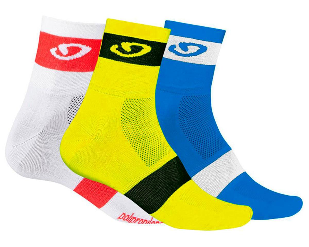 "Comp Racer 3"" Socks (3 Pack) (Blu/Yel/Wht)"