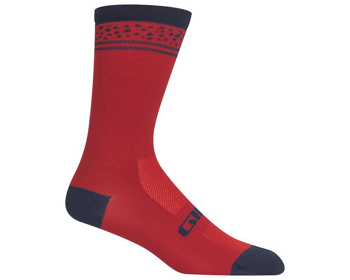 Giro Comp Racer High Rise Socks (Dark Red Lines) (L)