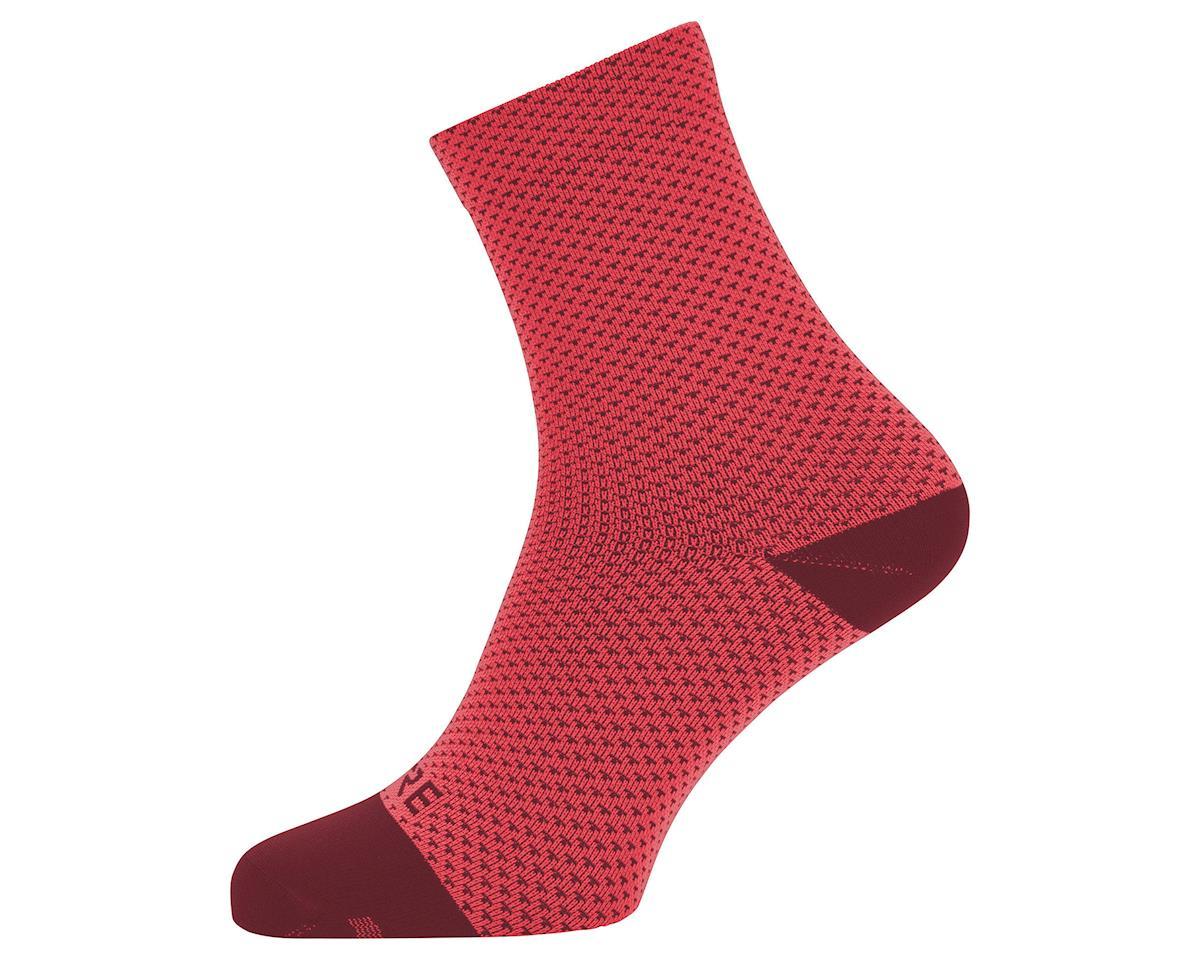 Gore Wear C3 Dot Mid Socks (Hibiscus Pink/Chestnut Red) (M)