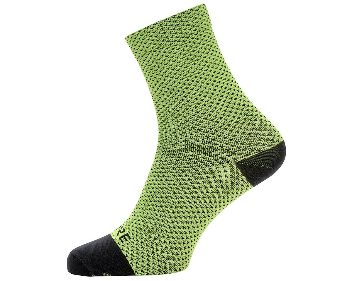 Gore Wear C3 Dot Mid Socks (Neon Yellow/Black) (L)