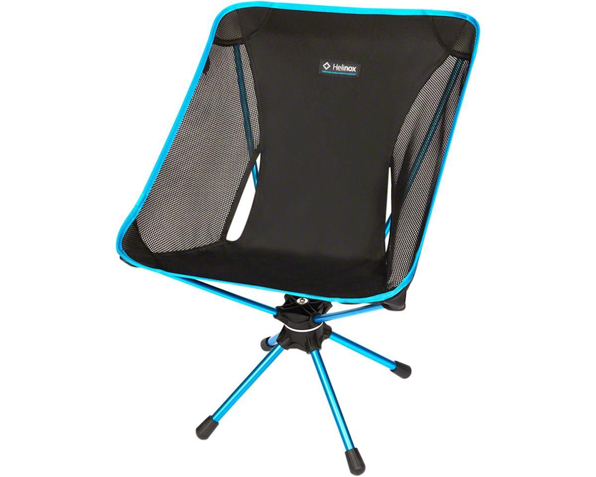Swivel Camp Chair: Black/Blue