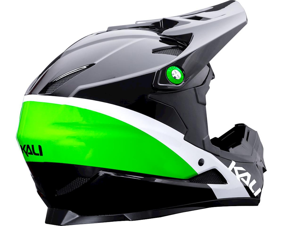 Kali Zoka Switchback Youth Helmet (Gloss Black/Lime/White) (Kids M)