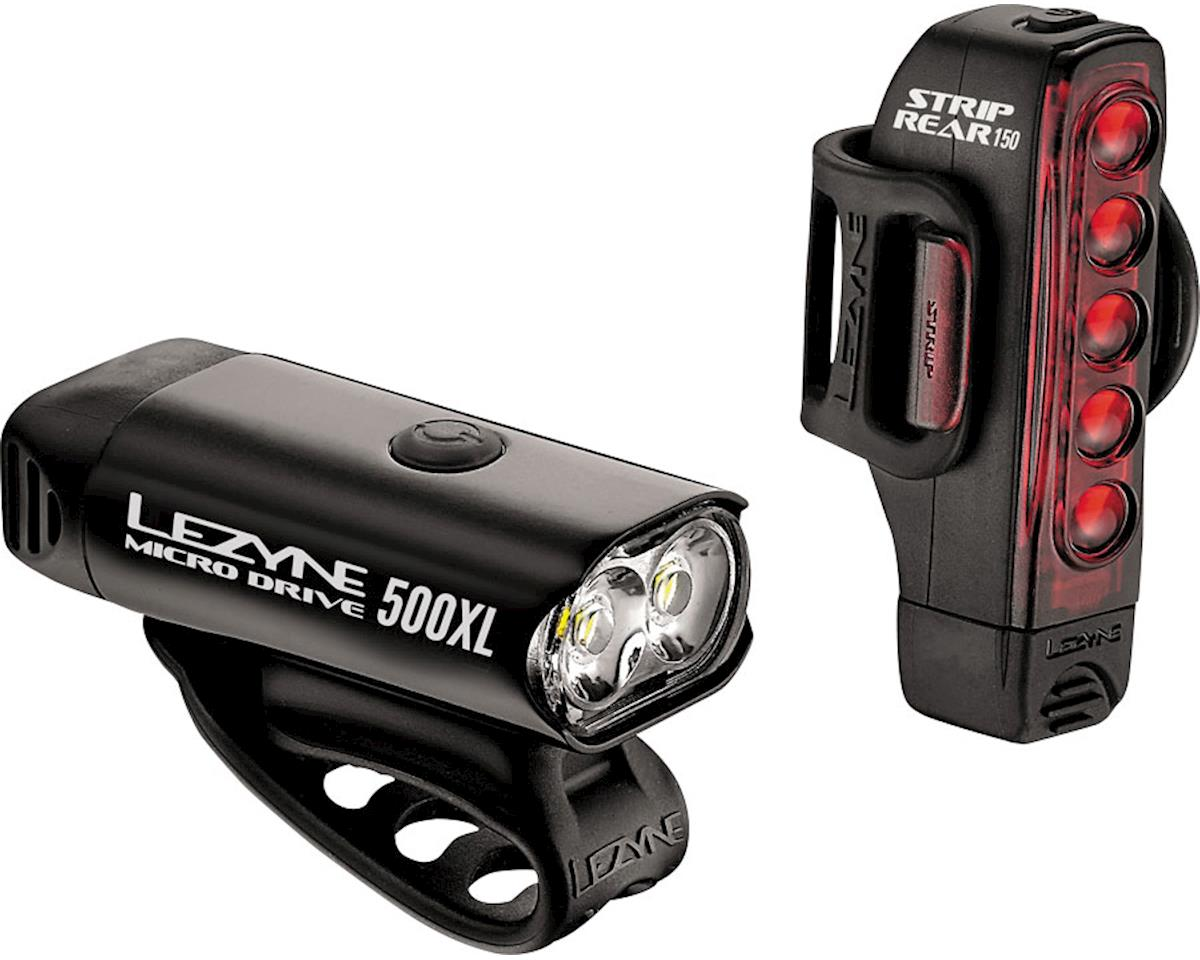 Lezyne Micro Drive 500XL & Strip Headlight & Taillight Set (Gloss Black)