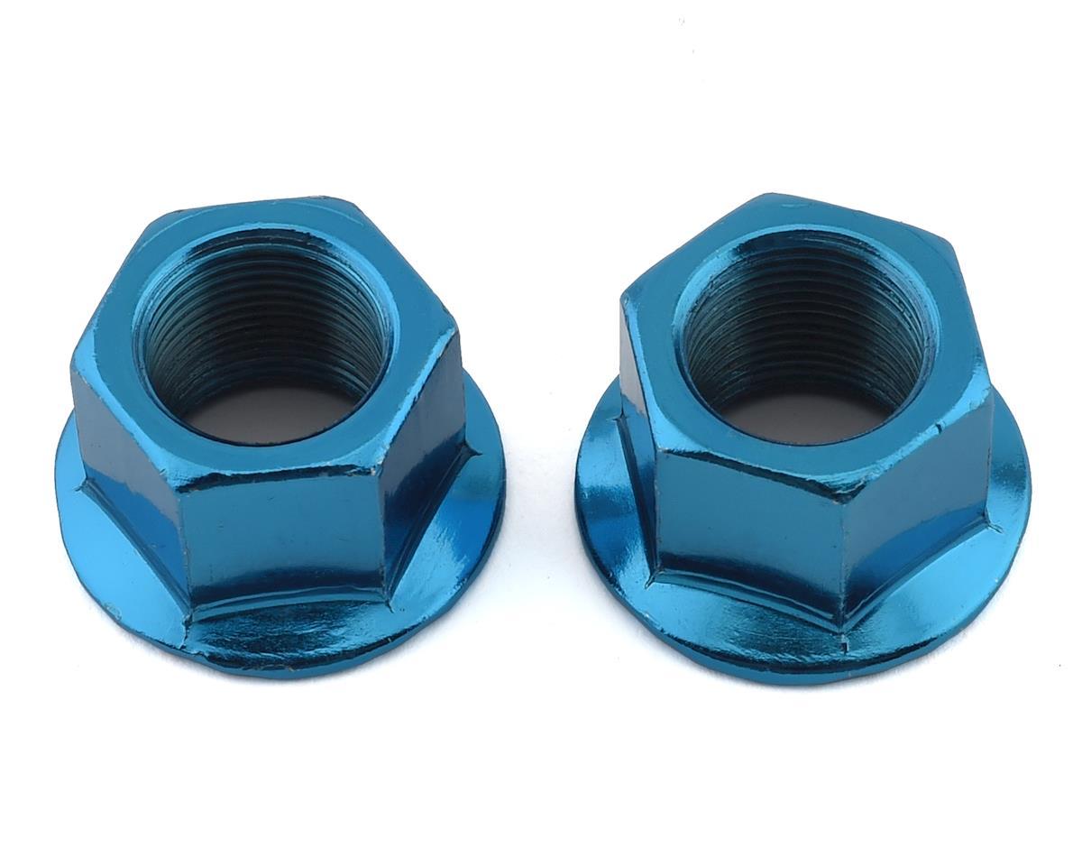 """MCS Hub Axle Nuts (3/8"""") (14mm) (ED Blue) (Pair)"""