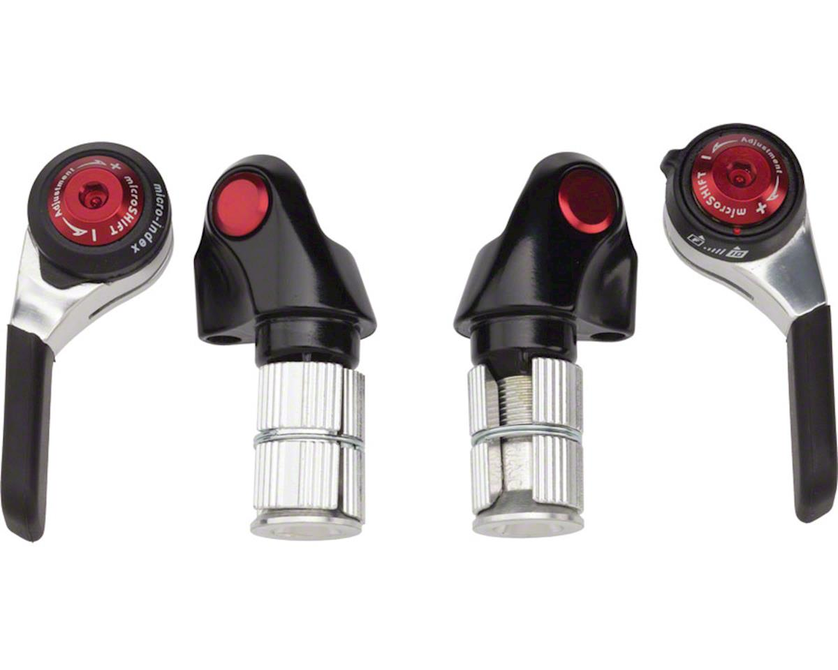 MicroShift Road Double/Triple 10-Speed Bar End Shifter Set (Black/Red/Silver)