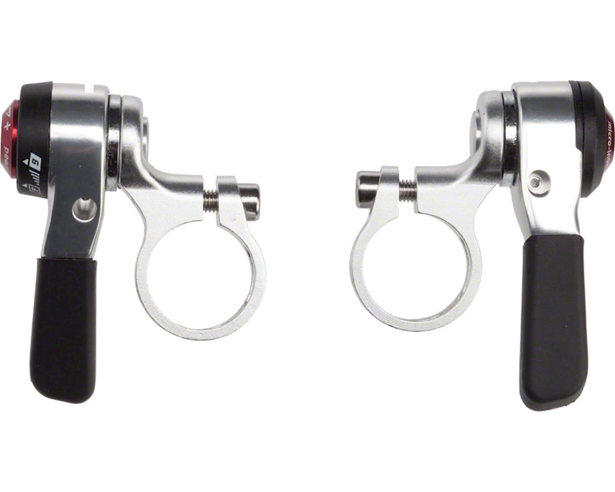 microSHIFT Double/Triple 9-Speed Thumb Shifter Set, Shimano Compatible, Silver