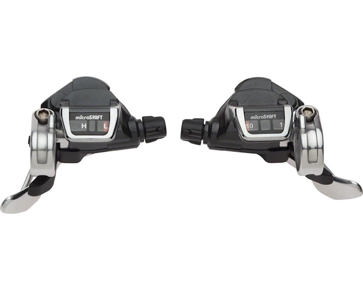 microSHIFT Flat Bar Road Double Double/Triple 10-Speed Thumb Tap Shifter Set, Sh