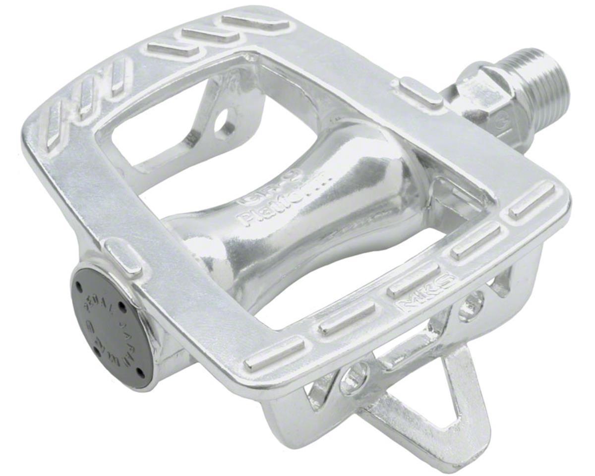 """Mks GR-9 Platform Road Pedals: 9/16"""" Toe Clip Compatible Alloy Silver"""