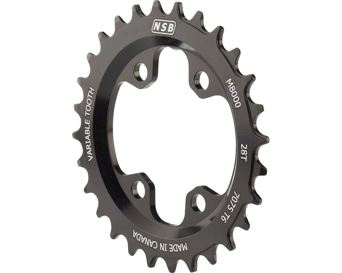 North Shore Billet Variable Tooth Chainring: 28T, Shimano XT 8000 64 BCD, Black