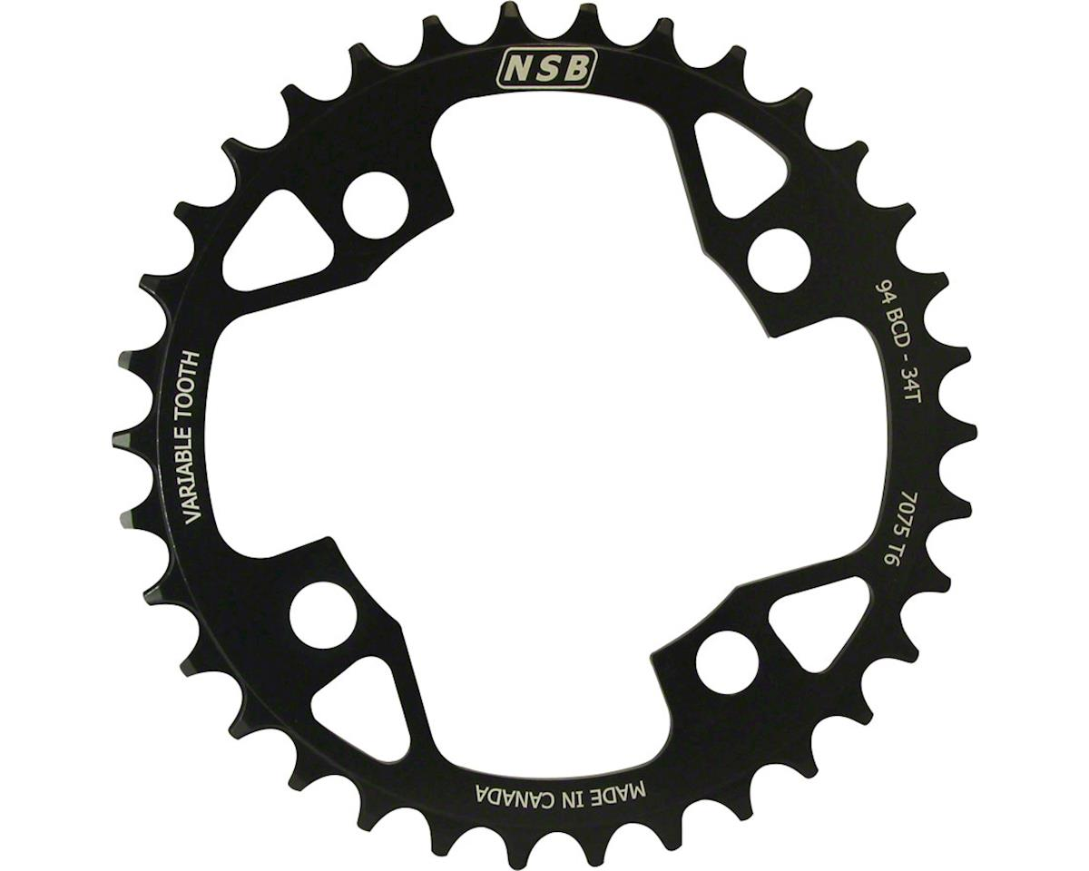 North Shore Billet Variable Tooth Chainring: 34T, Standard 94 x 4 BCD, Black