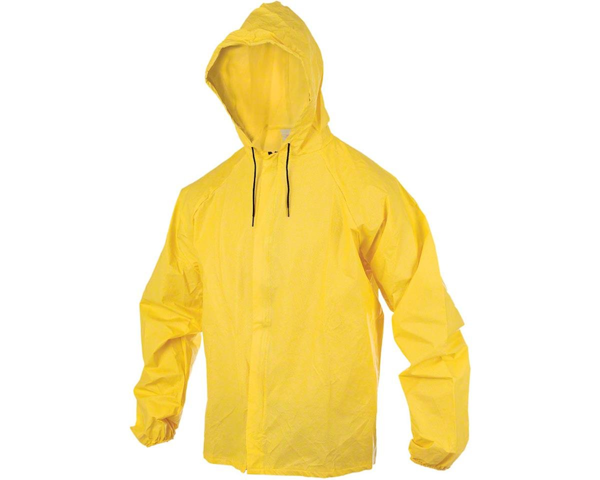 Rainwear Hooded Rain Jacket with Drop Tail: Yellow 2XL