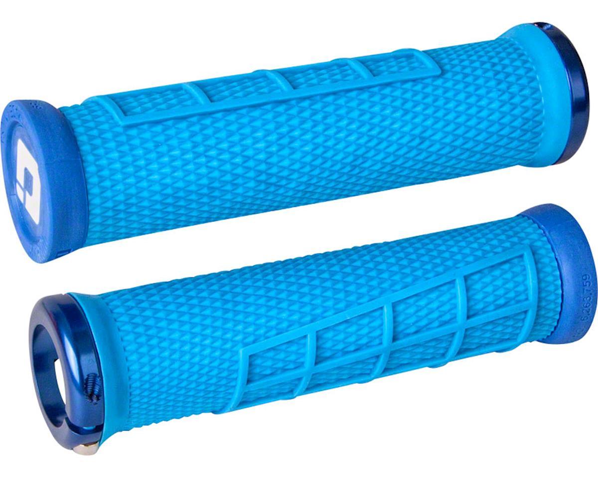 ODI Elite Flow Lock-On Grips (Light Blue w/ Blue Clamps)