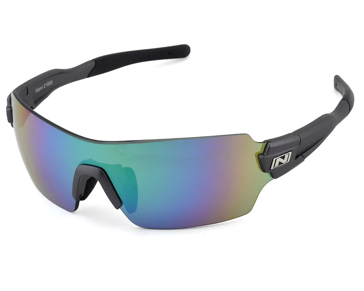 Optic Nerve Vapor Sunglasses: Matte Carbon with Smoke Green Mirror Lens and addi
