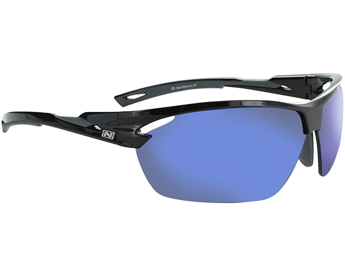 Optic Nerve Tach Sunglasses (Shiny Black/Grey) (Grey Blue Mirror Lens)