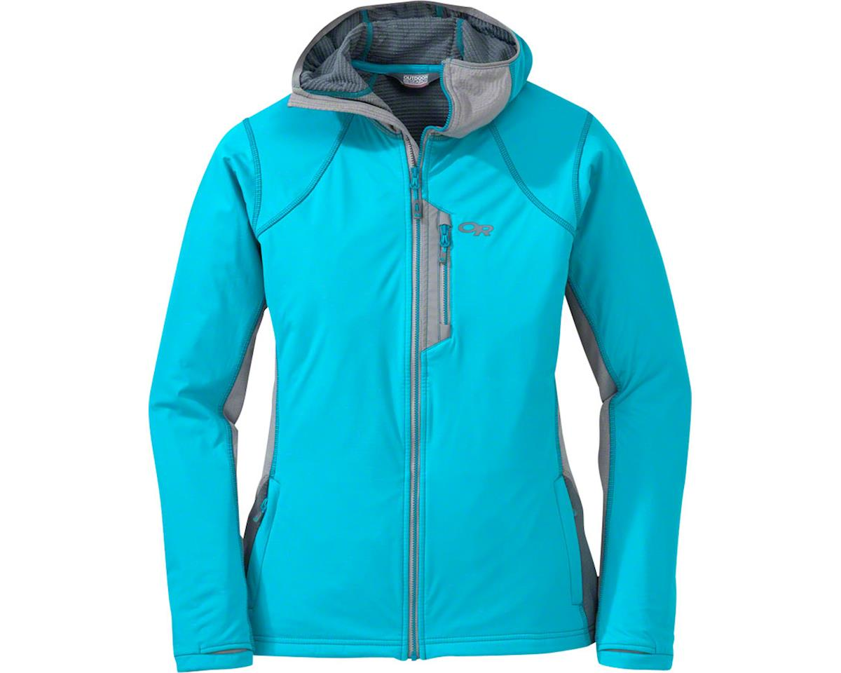 Outdoor Research Centrifuge Women's Hooded Jacket (Pewter Gray/Typhoon Blue) (L)