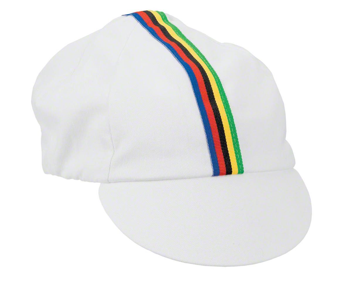 a76ccdb8fd89c Pace Sportswear Traditional Cycling Cap  White World Champion Stripe ...