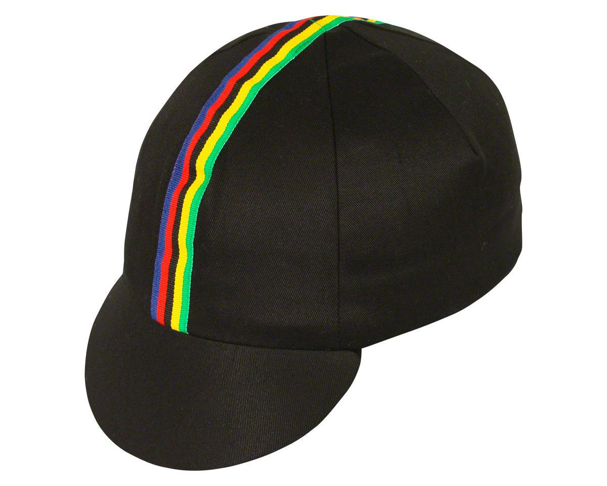 Pace Sportswear Traditional Cycling Cap: Black/World Champion Stripe, XL