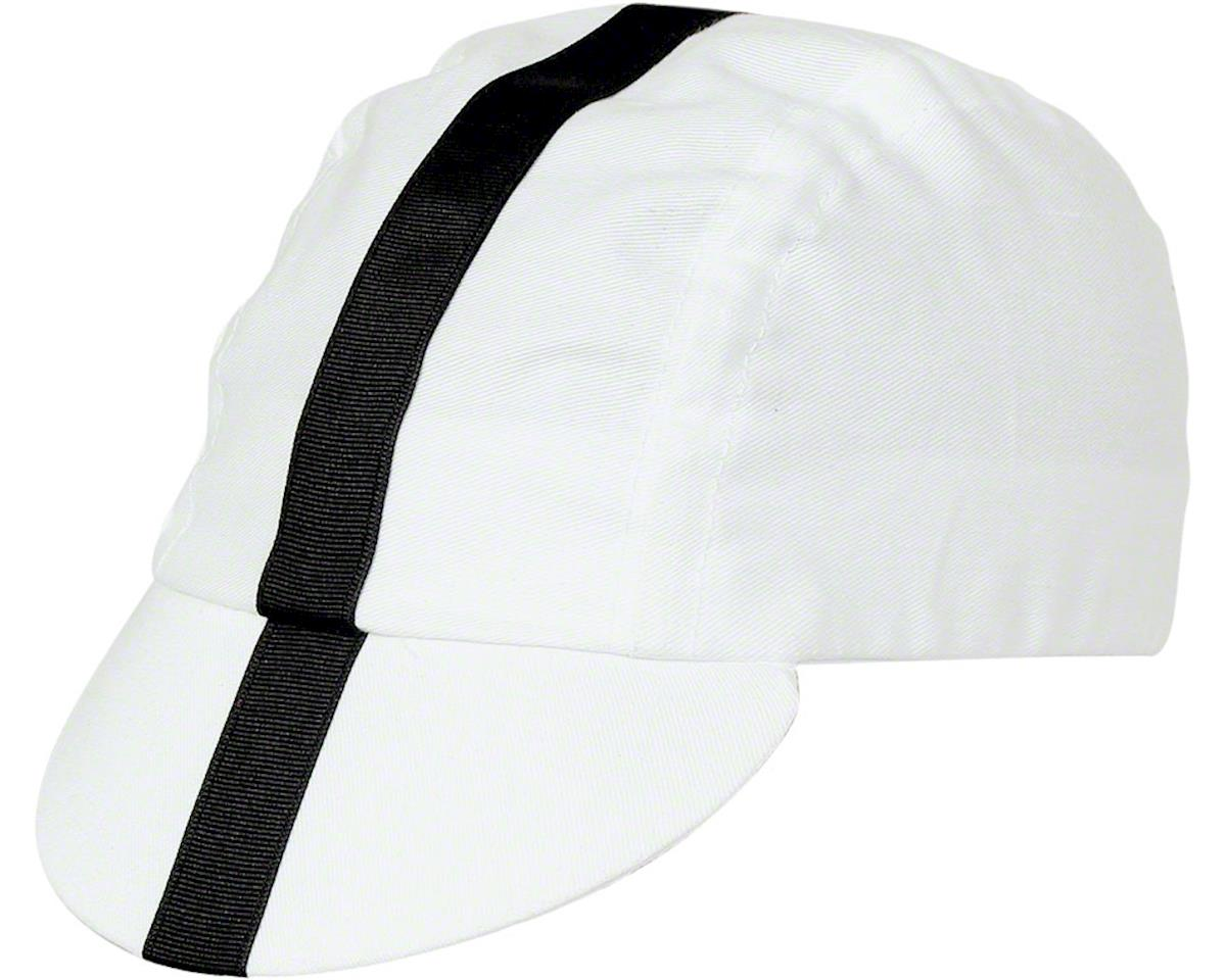 Pace Sportswear Classic Cycling Cap: White with Black Tape, MD/LG