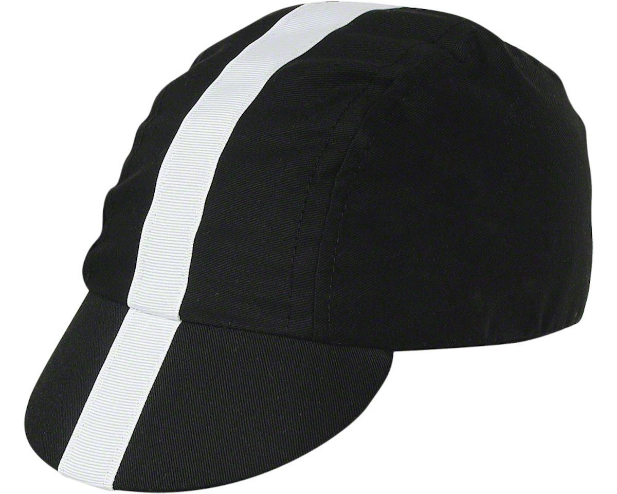 Pace Sportswear Classic Cycling Cap (Black w/ White Tape) (MD/LG)