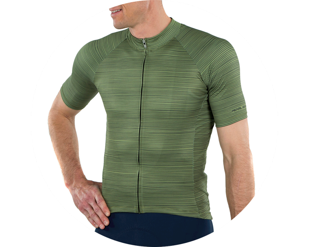 Pearl Izumi Elite Pursuit Graphic Short Sleeve Jersey (Willow/Forest Stripe) (M)