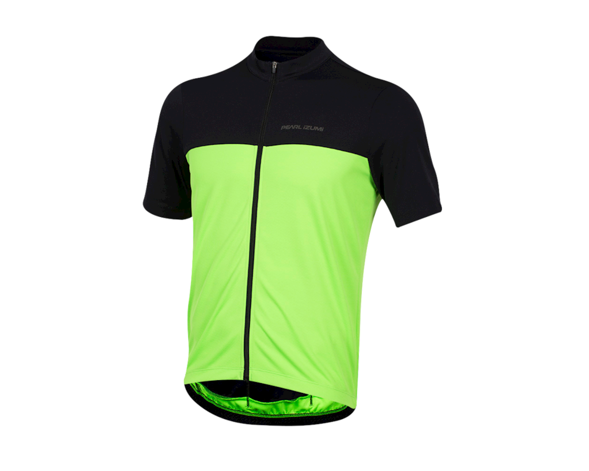Pearl Izumi Quest Short Sleeve Jersey (Black/Screaming Green) (L)