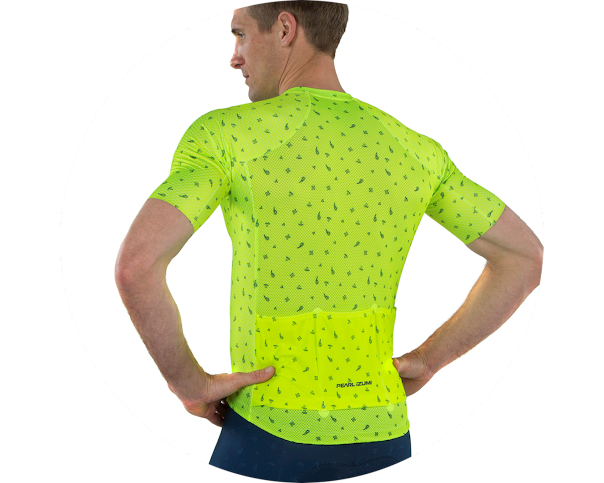 Pearl Izumi Pro Mesh Jersey (Screaming Yellow/Navy Paisley) (S)