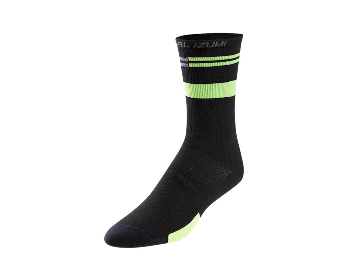 Pearl Izumi Elite Tall Sock (Black/Screaming Green Segment) (M)