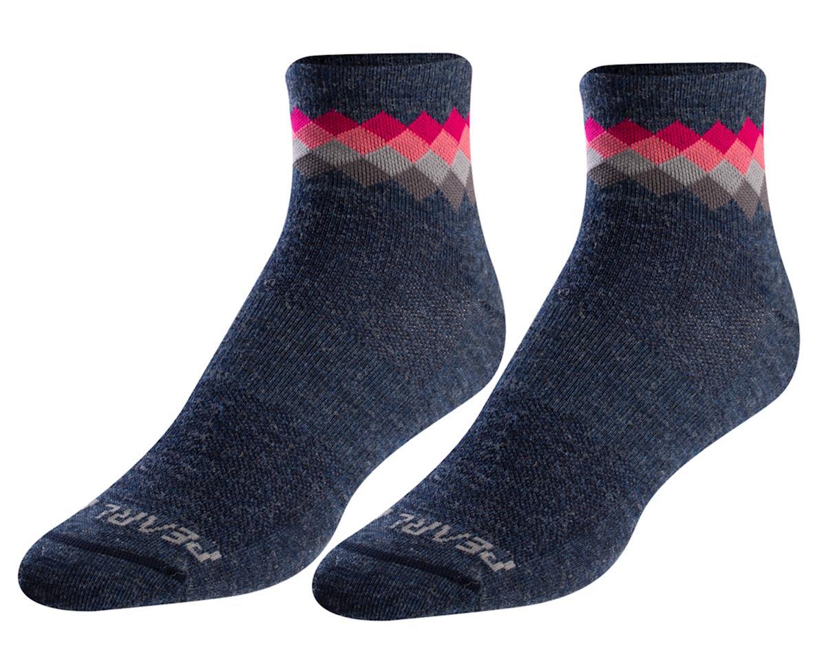 Pearl Izumi Women's Merino Wool Sock (Navy/Sugar Coral Solitaire) (L)