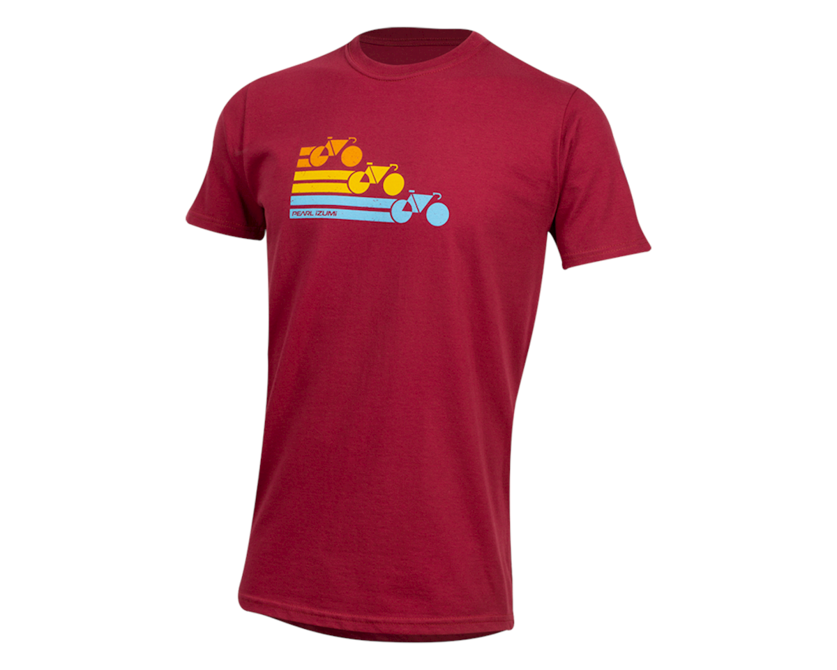 Pearl Izumi Organic Cotton T-Shirt (Bike Stripe Dark Red) (XL)