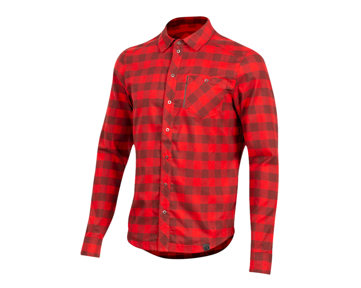 Pearl Izumi Rove Longsleeve Shirt (Torch Red/Russet Plaid) (L)