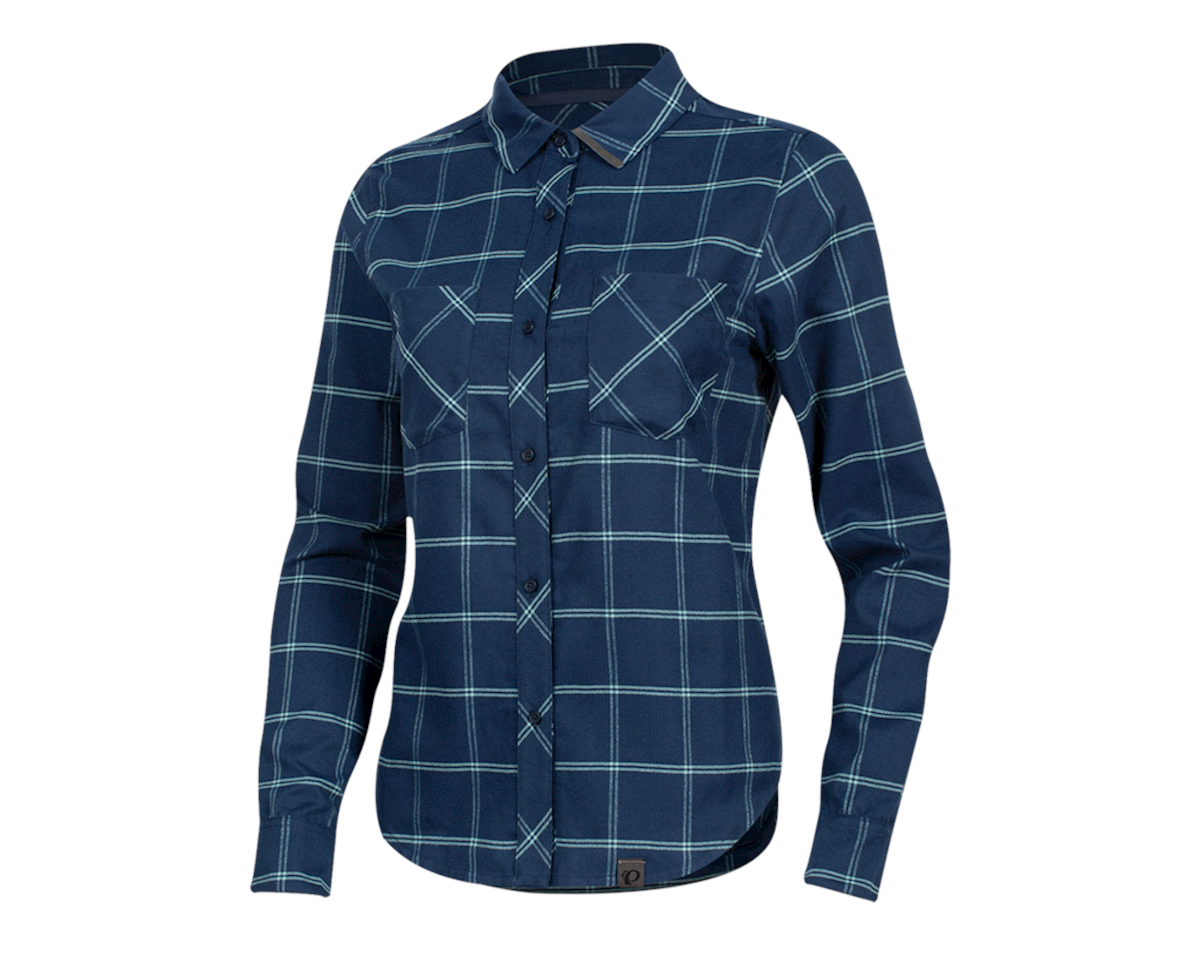 Pearl Izumi Women's Rove Longsleeve Shirt (Navy/Aquifer Plaid) (M)