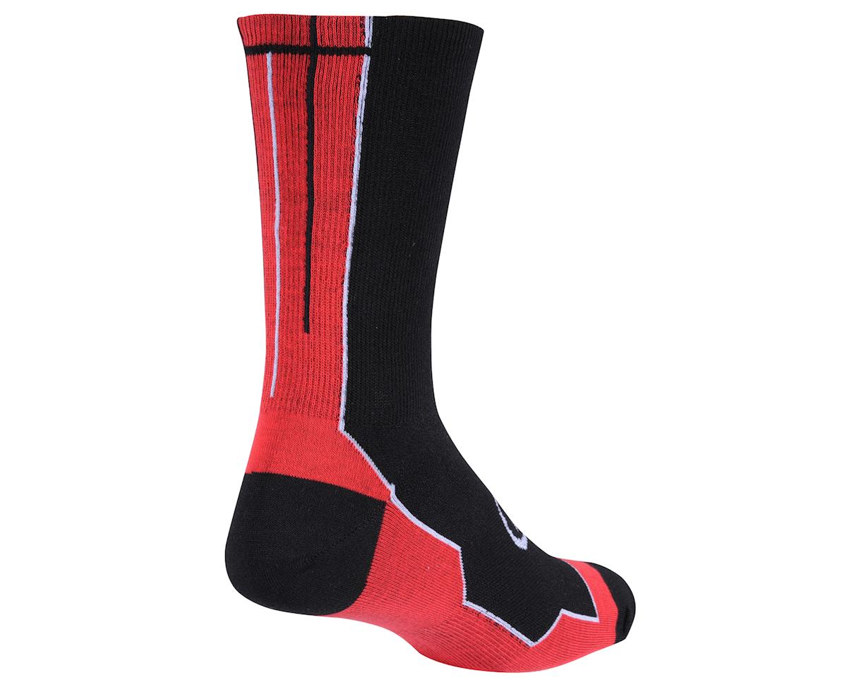 Image 2 for Performance Vertical Stripe Tall Socks (Black/Red/White)