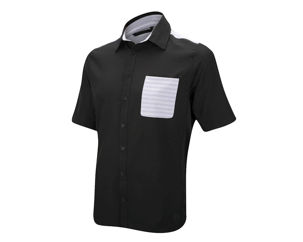 CHCB James Woven Button Up Short Sleeve Jersey (Black/Grey) (Xxlarge)