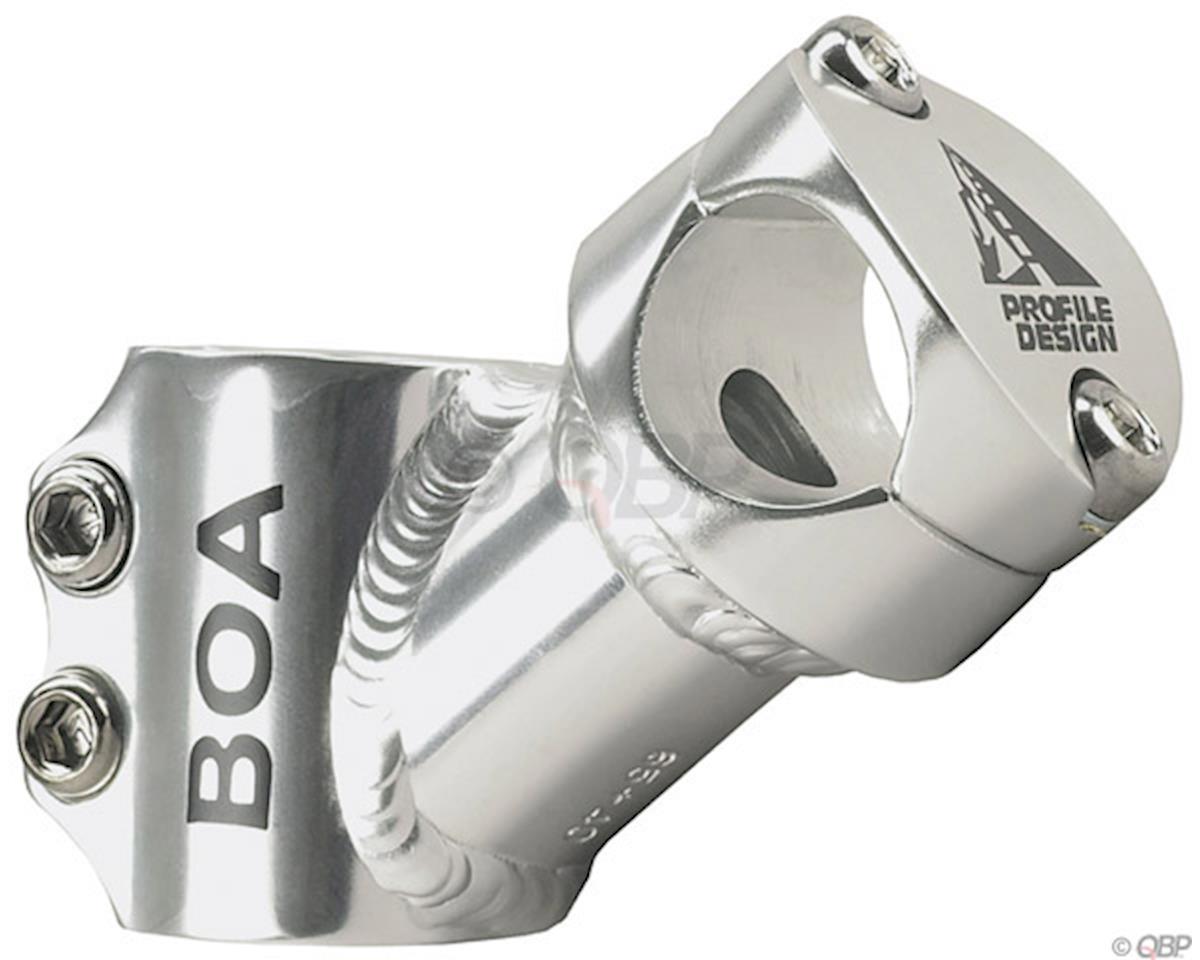"Boa Stem: 75mm, +40 degree, 1-1/8"", Threadless, Silver"