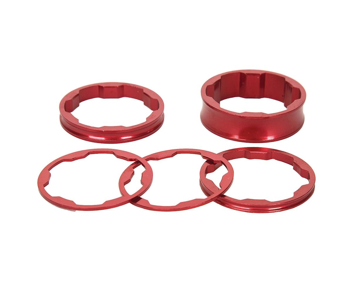 "Promax 1-1/8"" Stem Spacer Kit 10-5-3-1mm Spacers Red"