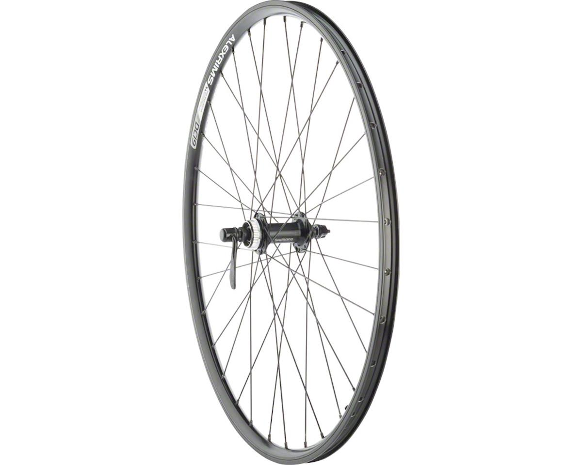 "Quality Wheels Value Double Wall Series Rim+Disc Front Wheel - 26"", QR x 100mm,"