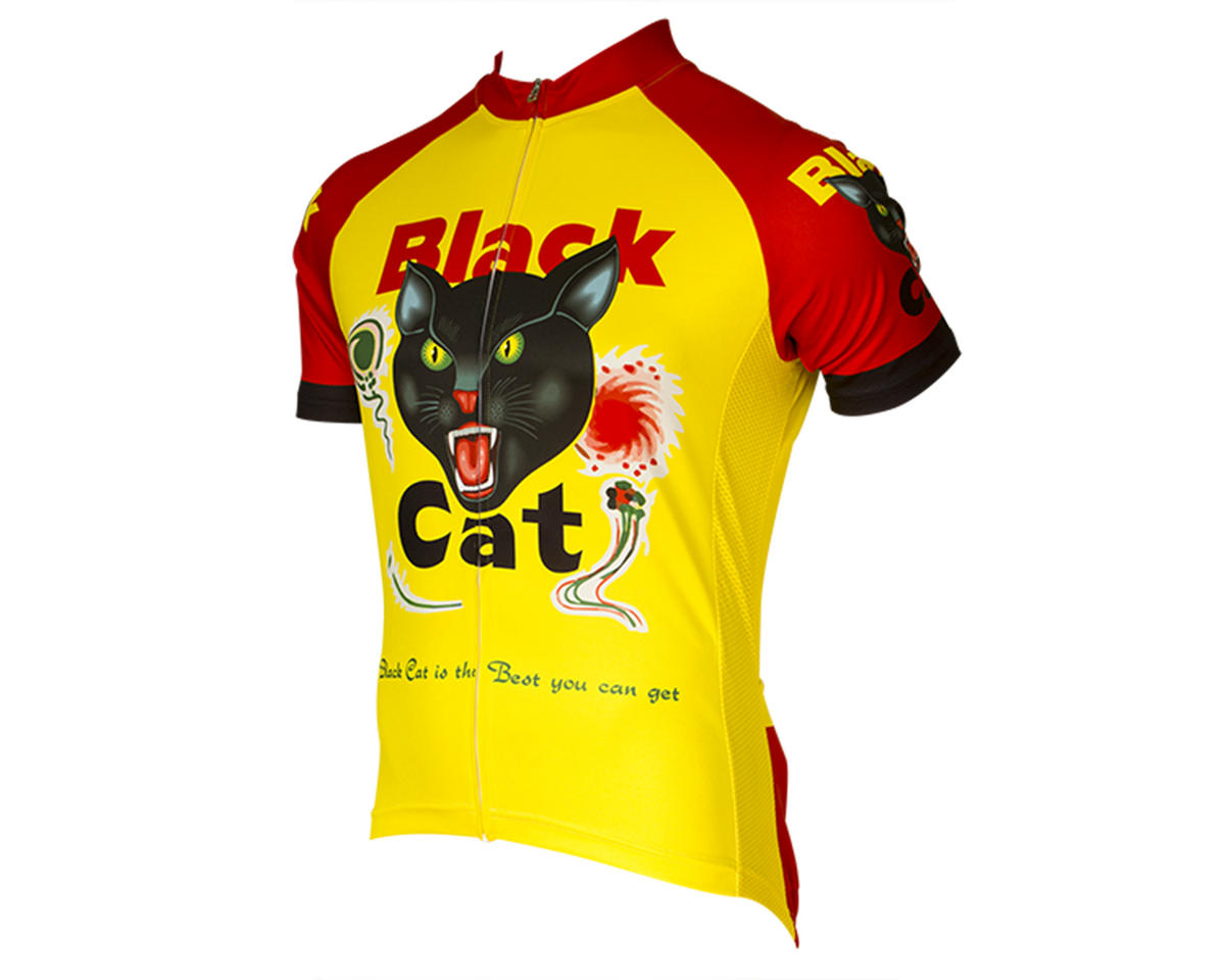 Retro Black Cat Fireworks Men's Jersey
