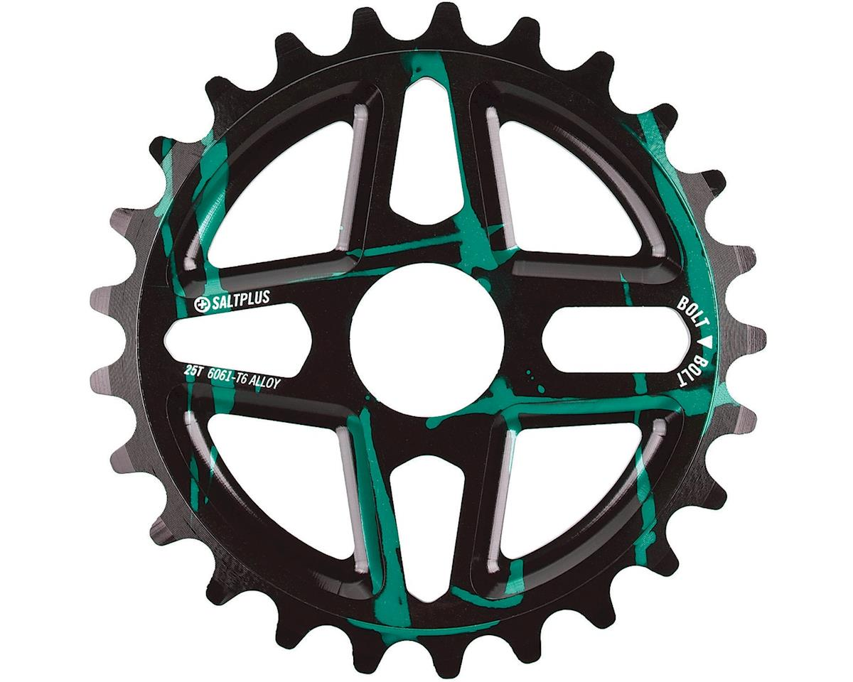 Plus Center Bolt Drive Sprocket 25t Black/Green Acid Drip Includes Adaptors