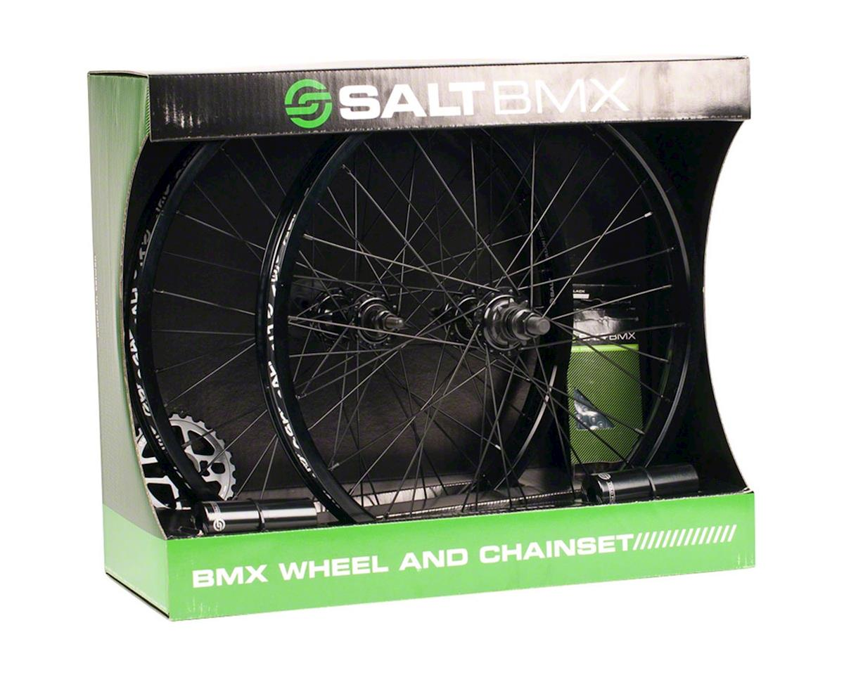 Salt Valon Wheel & Chainset (Black) (Wheels, Sprocket, Chain, Pegs)