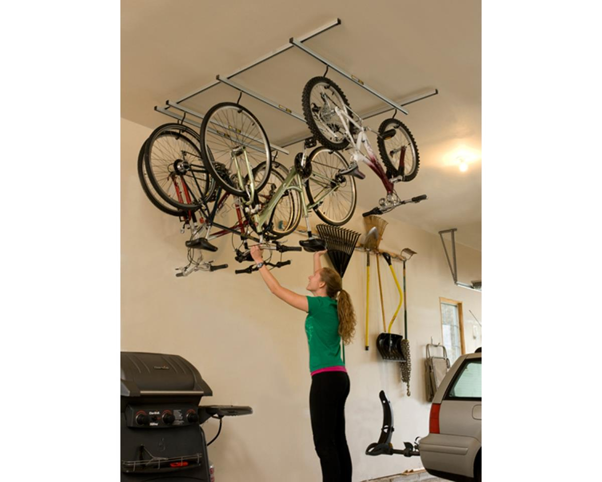 Cycle-Glide Ceiling Mount 4-Bike Storage, Silver