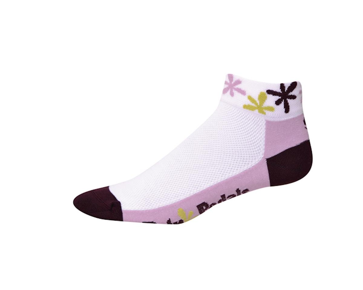 """Save Our Soles Retro Pedals 1.25"""" Womens Socks (White) (M)"""