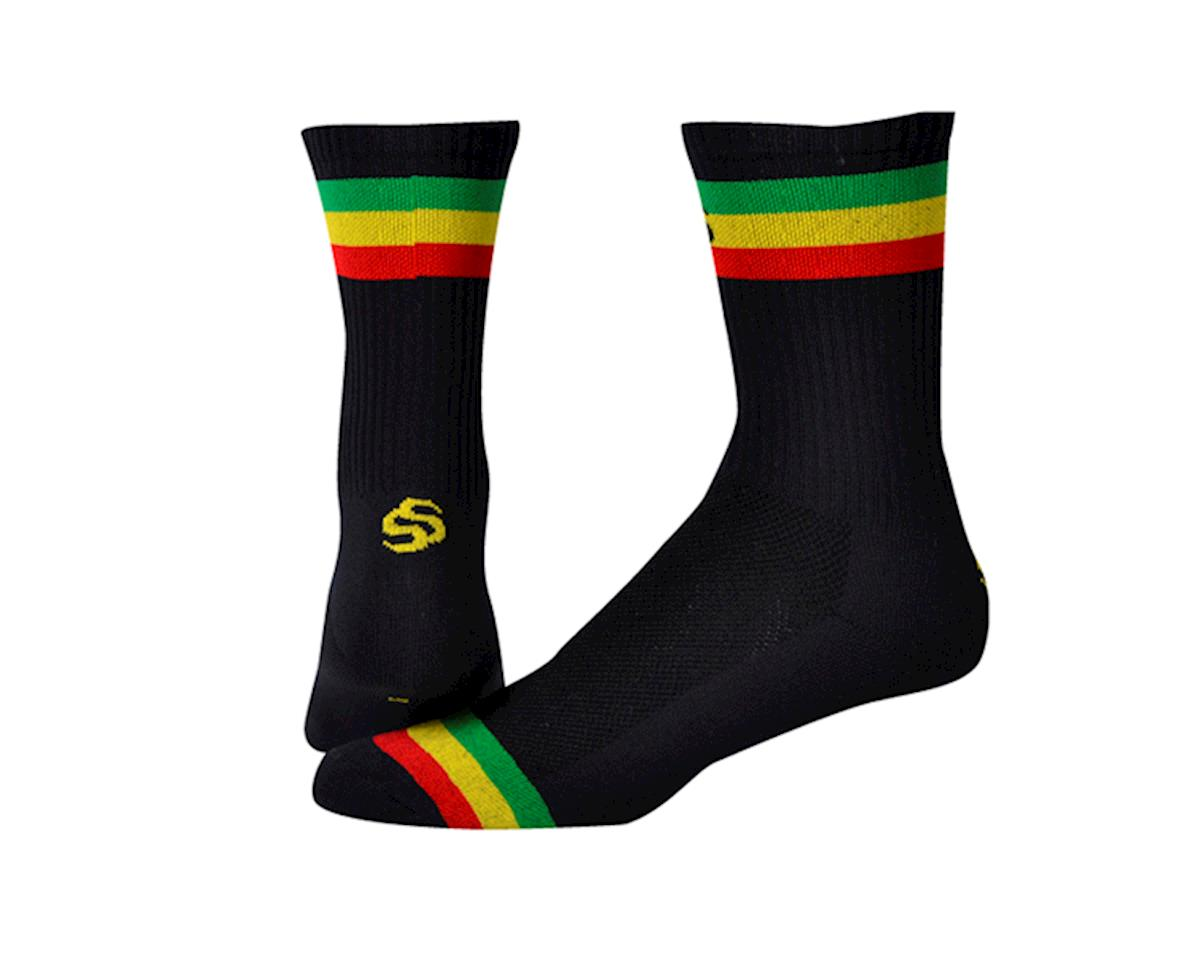 "Save Our Soles Three Little Birds 5"" Socks (Black/Rasta) (L)"